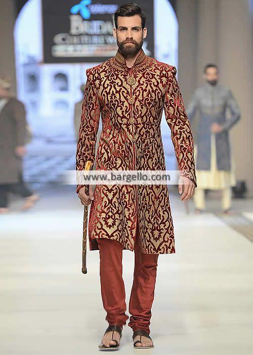 128137e3e4 Designer Suit Banarasi Jamawar Sherwani Newcastle London UK Ziggi Menswear  Sherwani Pakistan M937 New Arrivals