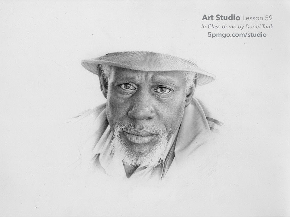 Part xii of a portrait drawn from start to finish by darrel tank for the art studio online classes
