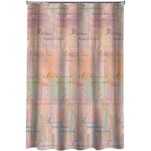 New Inspiration Fabric Shower Curtain Pastel Colors With Sentiments Nip Curtains