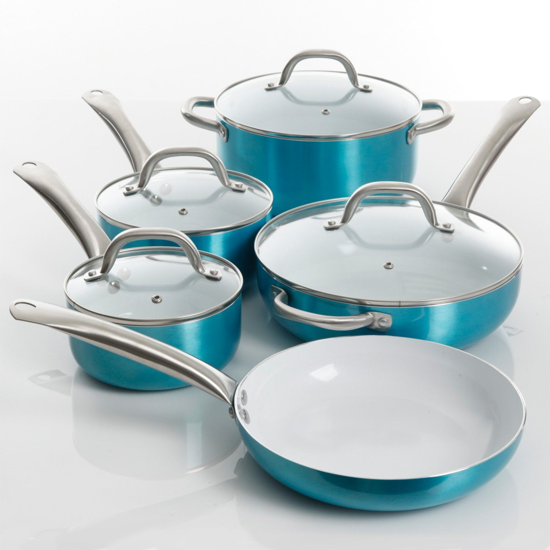 Oster Montecielo 9 Piece Ceramic Interior Cookware Set, Turquoise ...