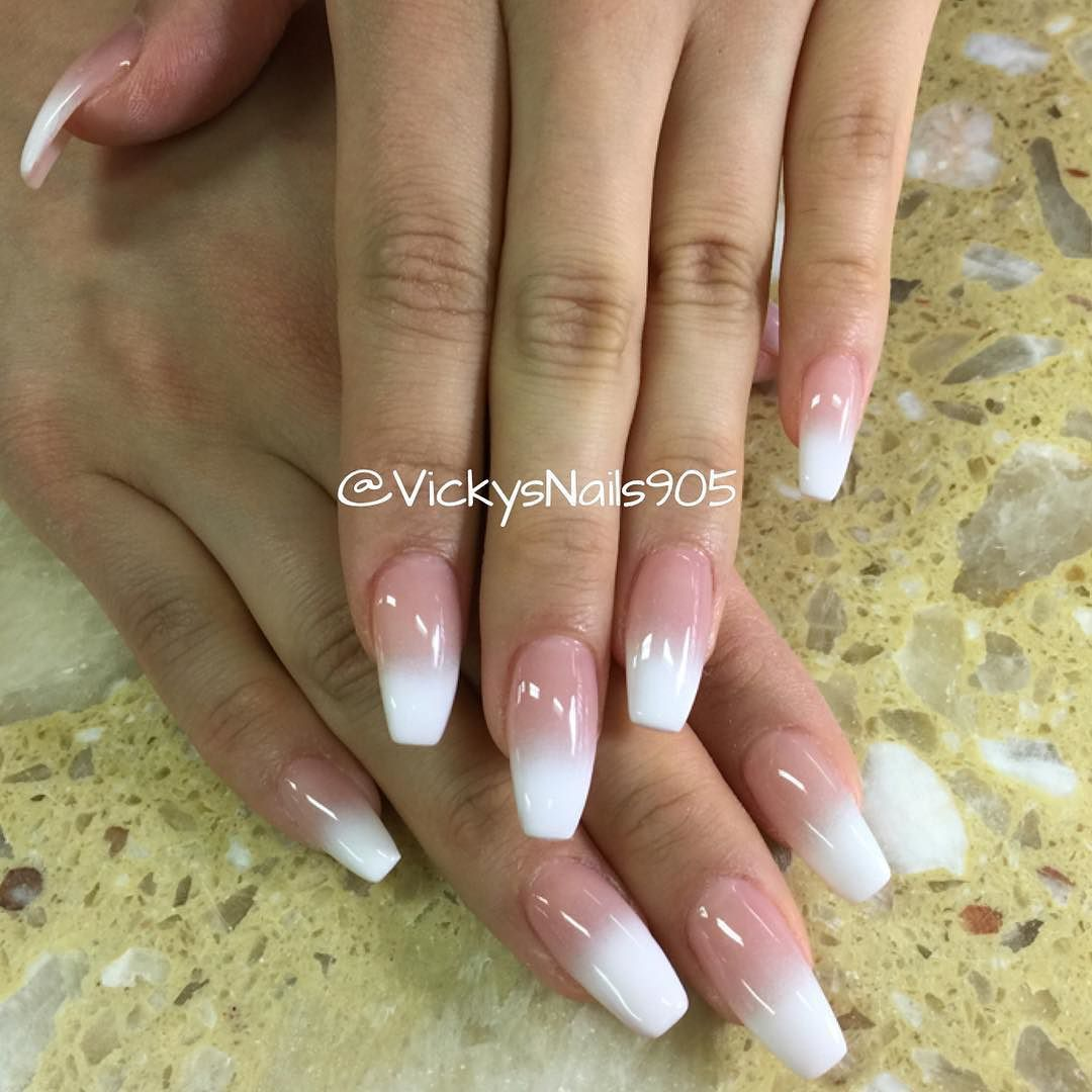 Coffin UV Gel nails with ombré manicure #nails #vickysnails ...