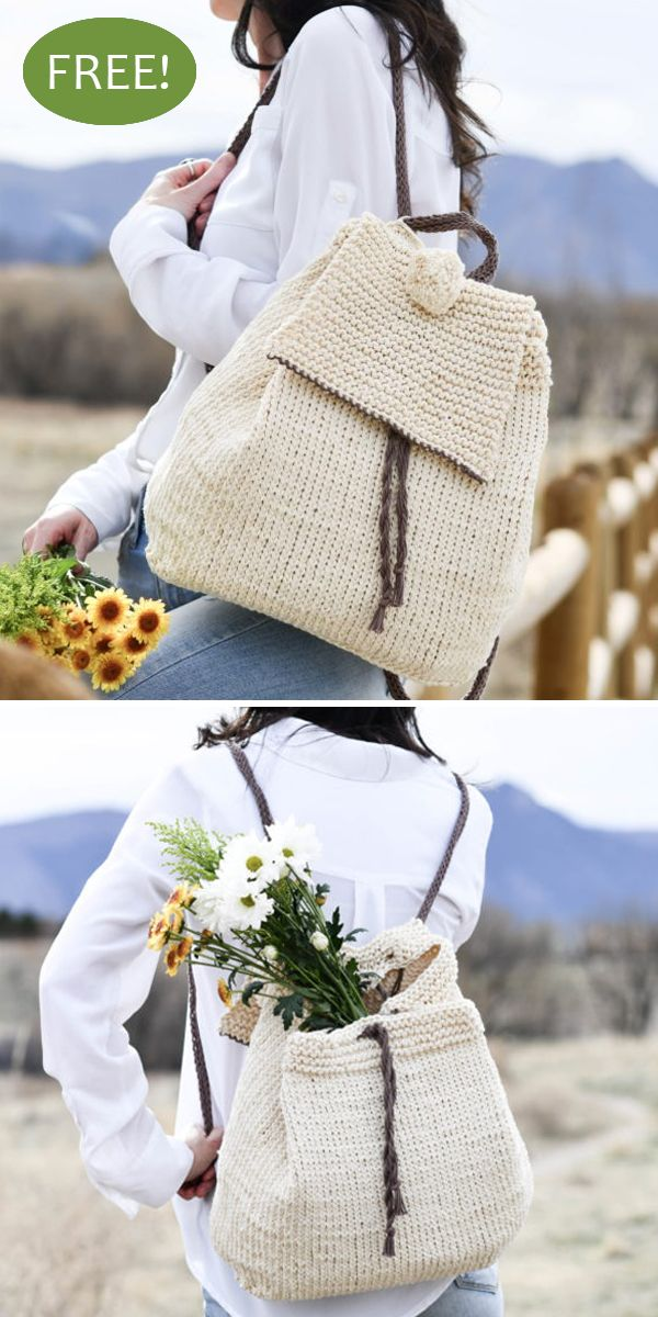 Straw-Like Easy Backpack Free Knitting Pattern #knittingpatternsfree