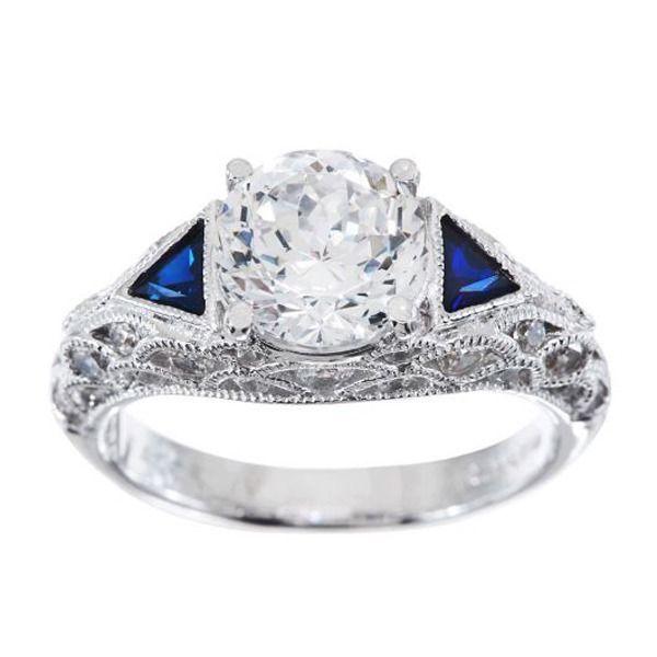 qvc tacori iv diamonique epiphany bloom cut lab created sapphire ring sz 7 b160 - Qvc Wedding Rings