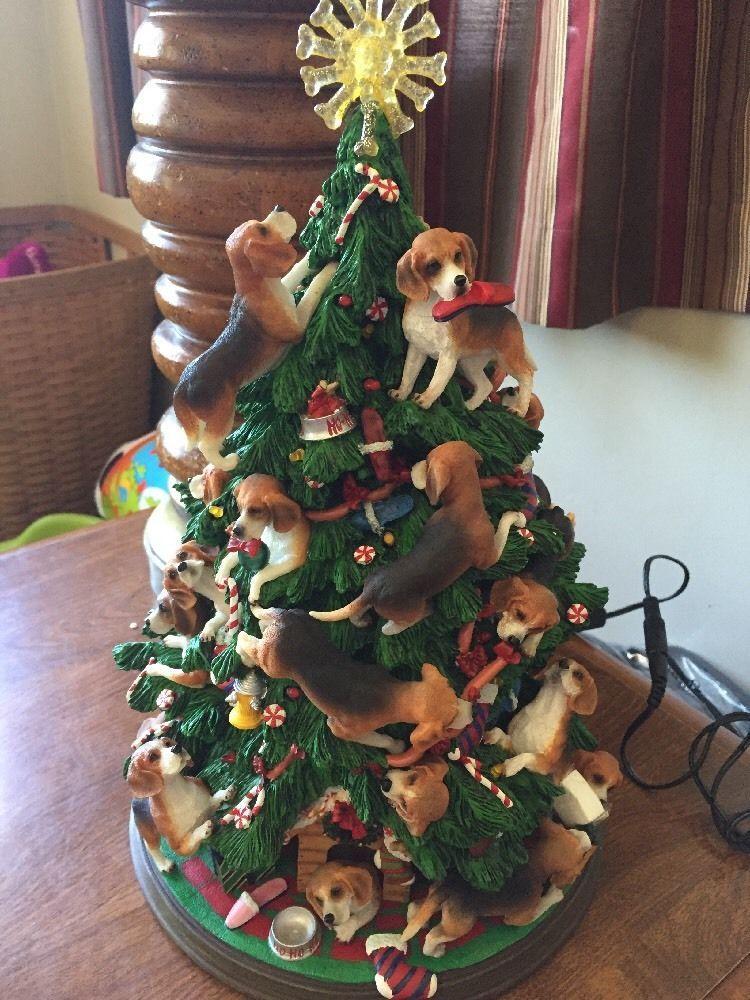 Beagles Danbury Mint Lighted Beagle Christmas Tree With Original