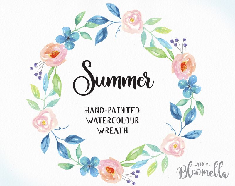 Watercolour Flower Wreath Clipart - Summer Hand Painted INSTANT ...