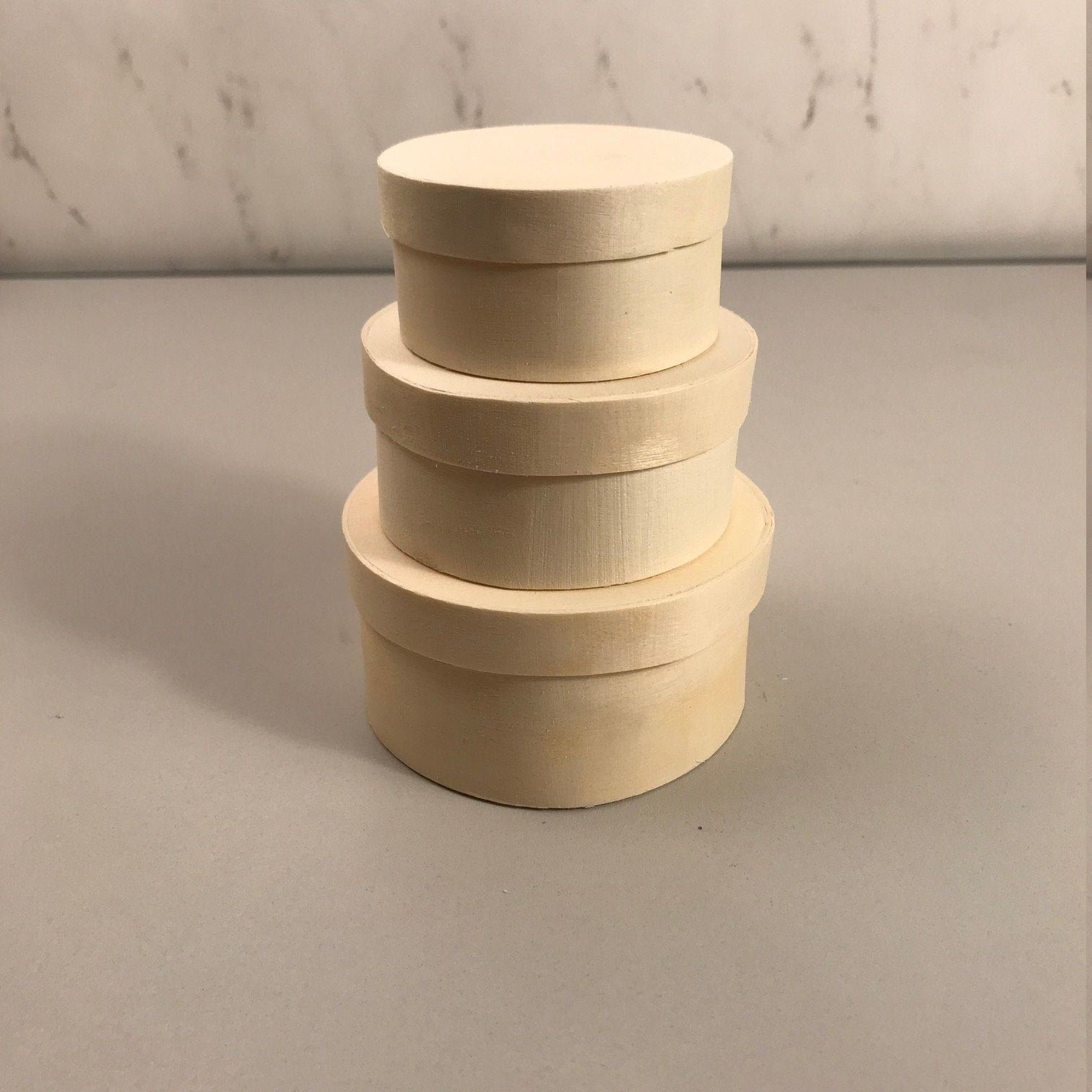 6 pack of 3piece set nesting bentwood round boxes ready