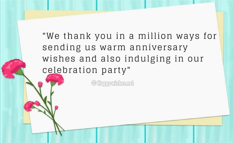 Thank You Messages For Anniversary Wishes Thank You Messages Thanks For Wishes Anniversary Greetings