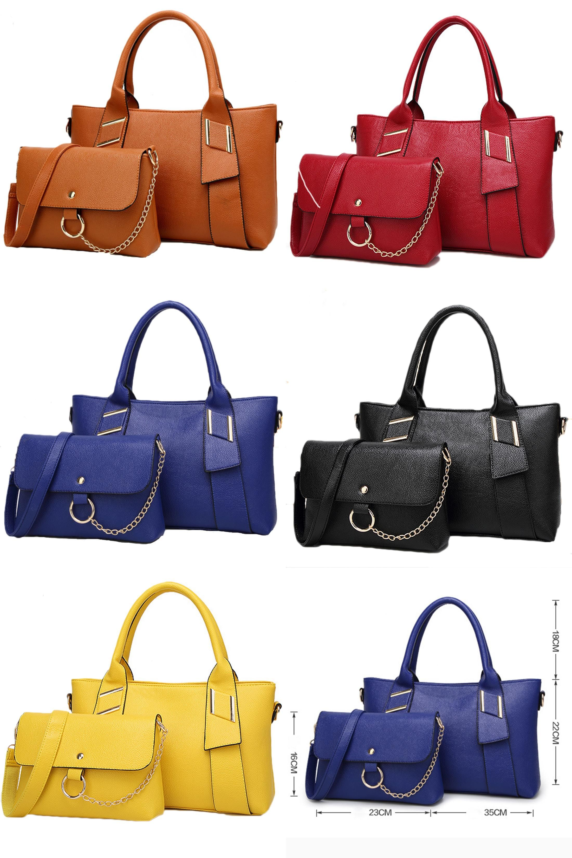 810ff98c55550 [Visit to Buy] SFG HOUSE Fashion 2017 Women 2 Piece Set Large Tote Bag  Messenger Bags Ladies PU Leather Shoulder Bag Handbags Purses Black Red #  ...