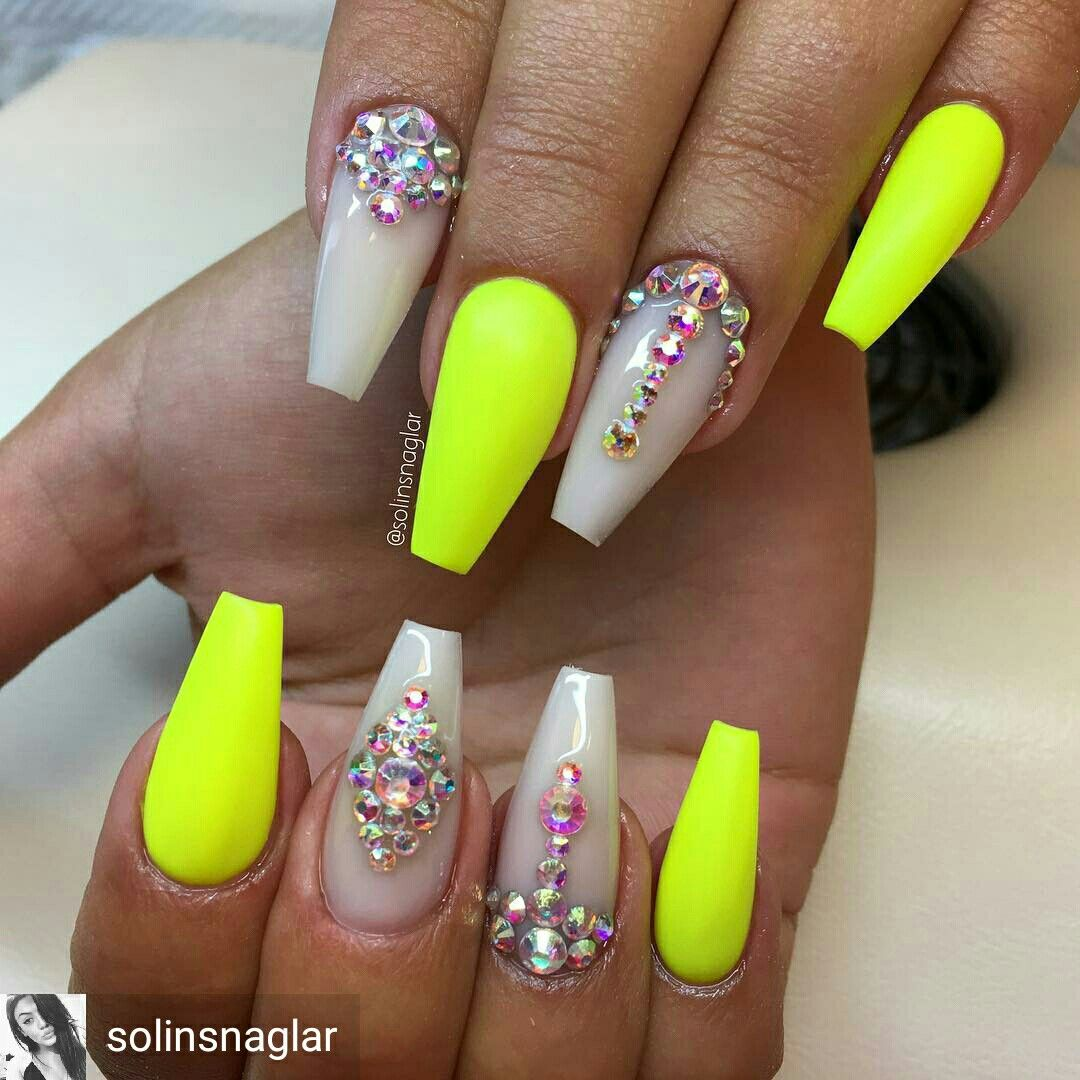 Neon Nails With Bling With Images Neon Green Nails Neon Nails