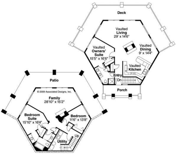 Grandview 10 249 Prairie House Plan Floor Plan Hexagon House Cottage Floor Plans Octagon House