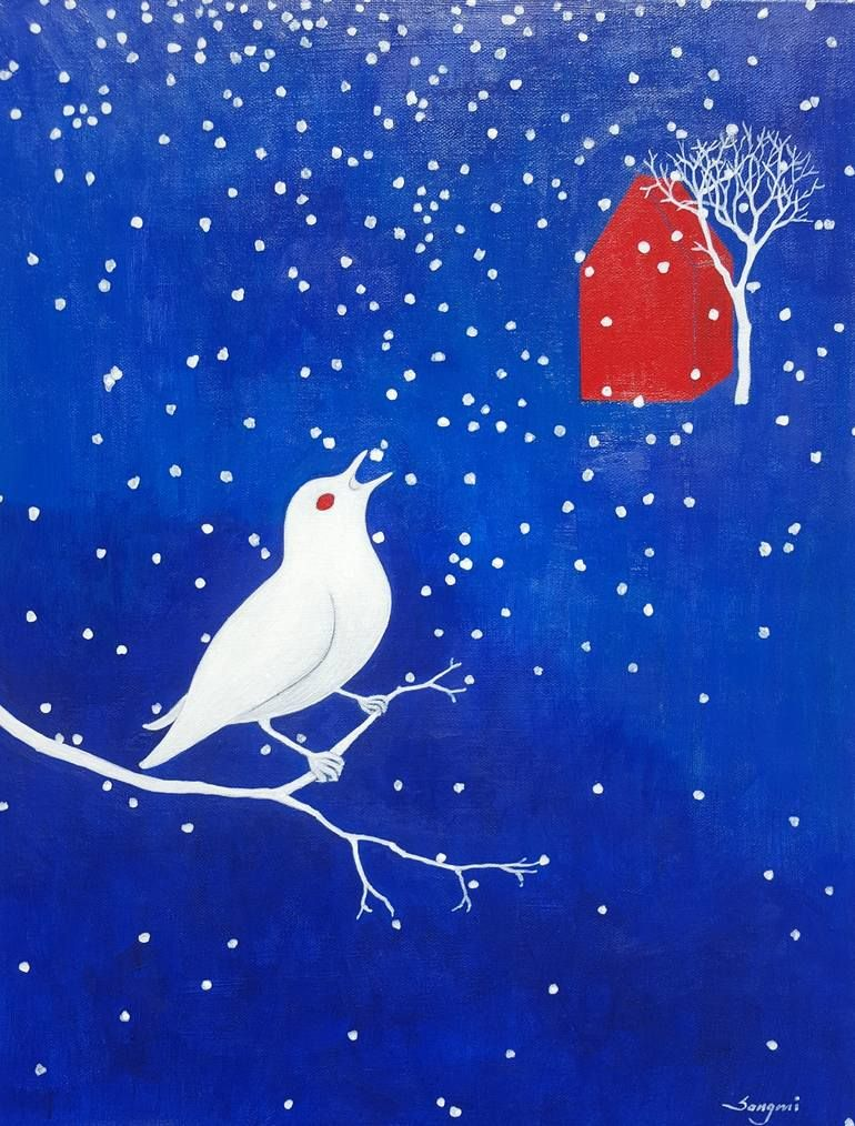 Original Abstract Painting by Songmi Heart | Abstract Art on Canvas | The Snow Bird #874