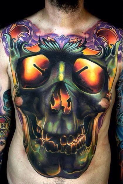 Skull With Jaw Dropped: Best Chest Tattoos - Jaw-Dropping Ink Masterpieces