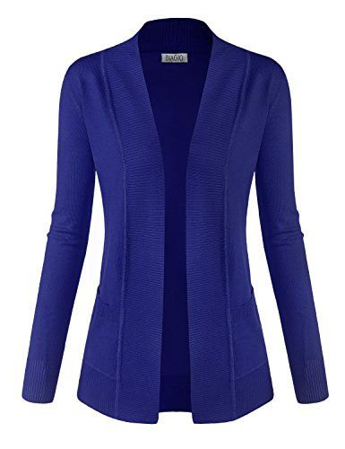BIADANI Classic Soft Long Sleeve Open Front Cardigan Sweater Royal ...