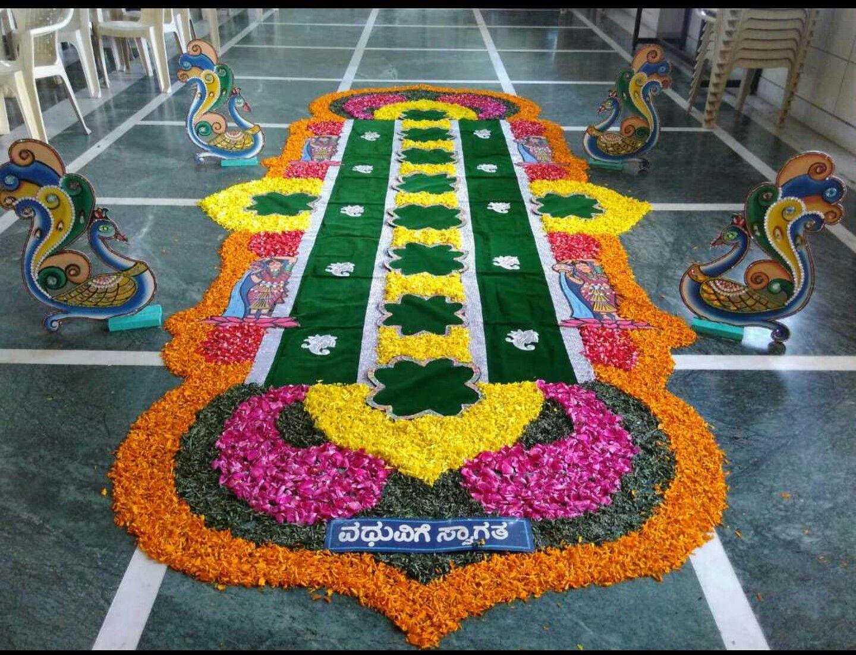 Bride Welome Decoration In Flowers Flower Decorations Flower Rangoli Altar Flowers