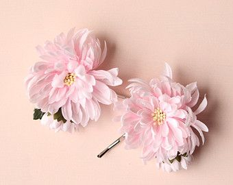 Pastel flower clip set Ranunculus hair clips Pink by whichgoose