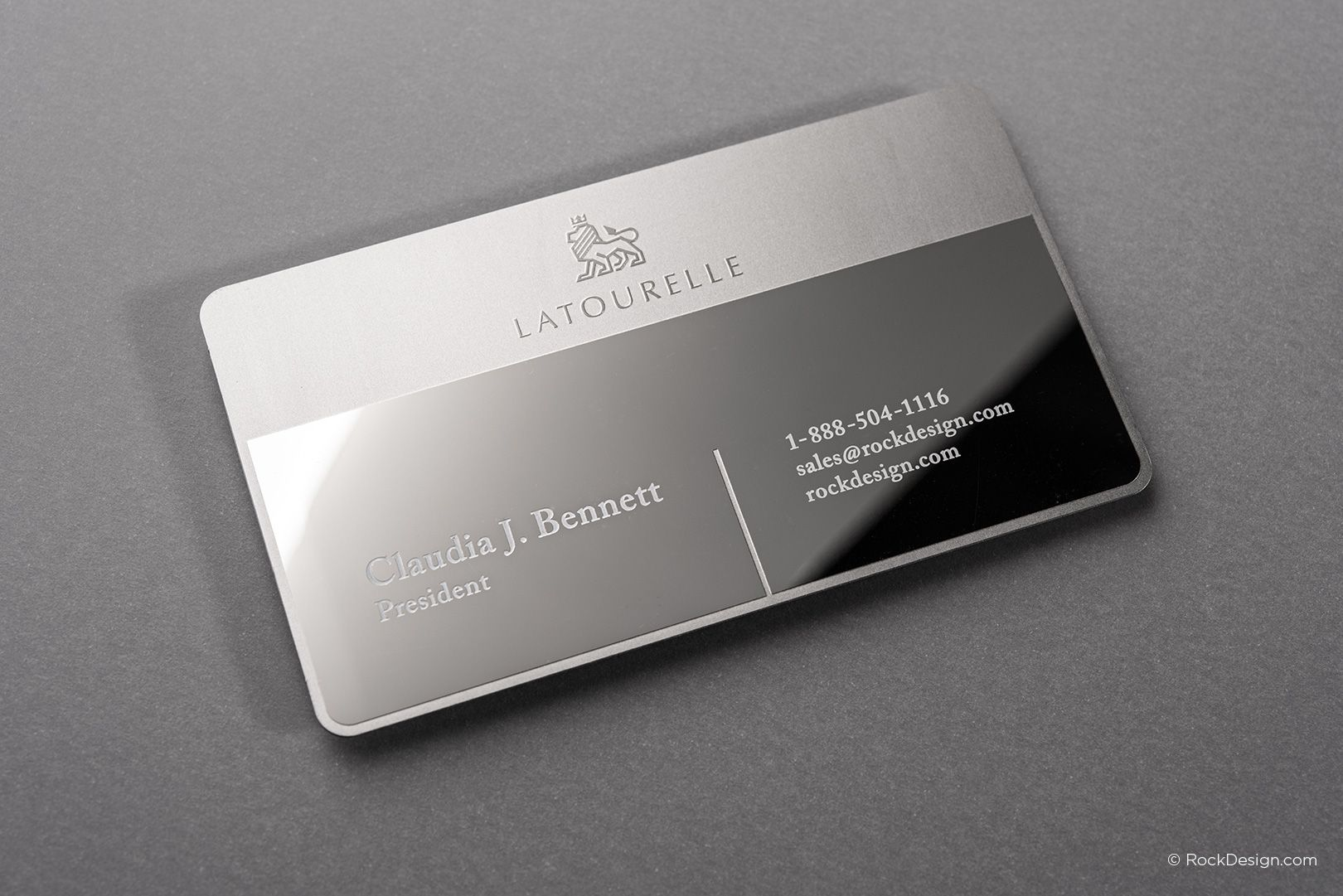 Sophisticated modern stainless steel business card with etching and ...