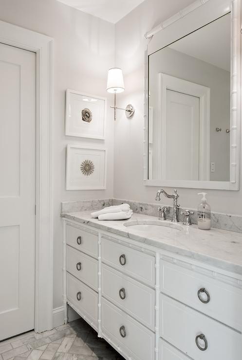 White Bamboo Bathroom Vanity Transitional Bathroom White