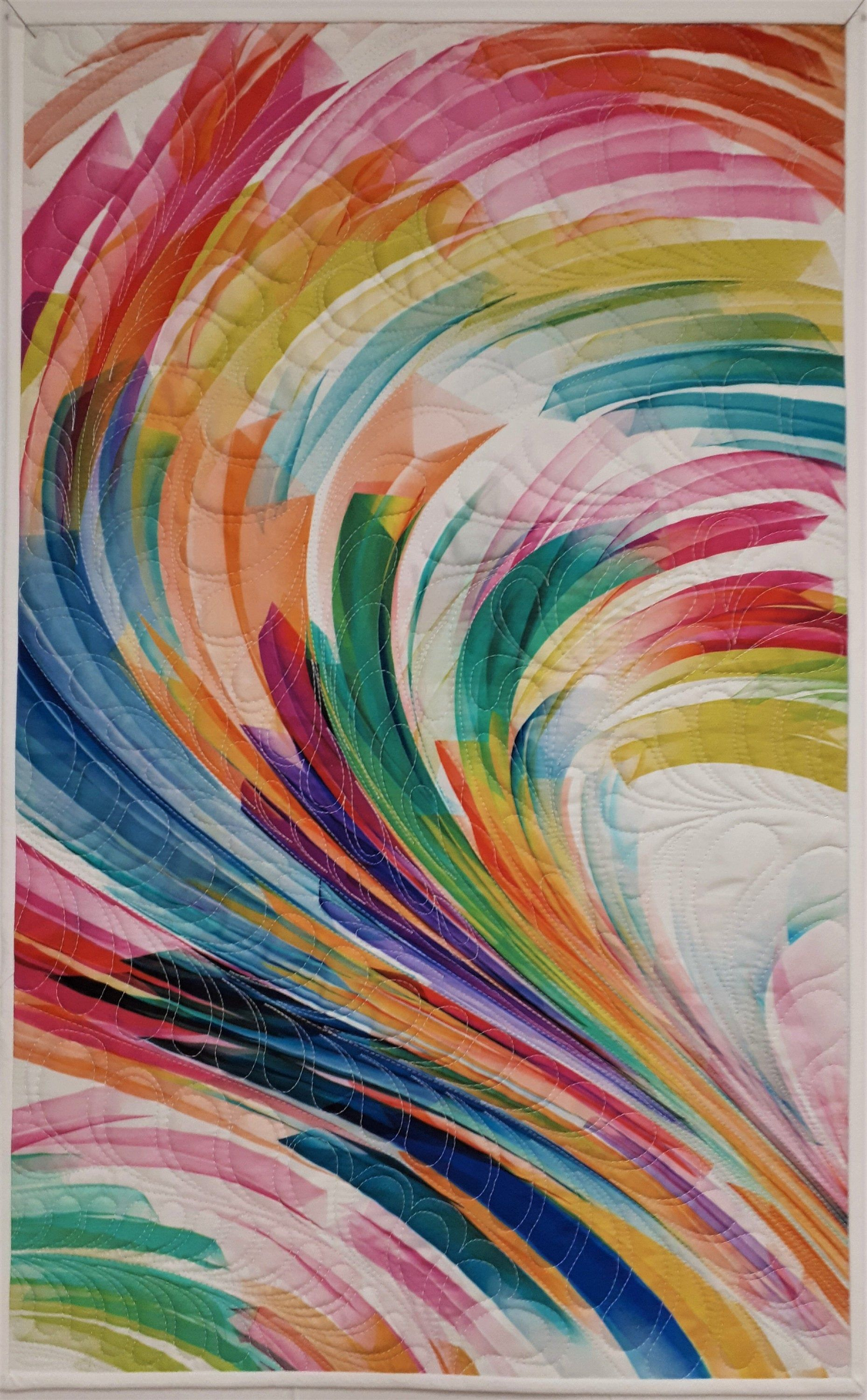 Modern Quilted Wall Hanging Abstract Rainbow Art Quilt Swirl Geo Quilted Table Runner 29 25 X18 25 In 2020 Art Quilts Rainbow Abstract Art Rainbow Art