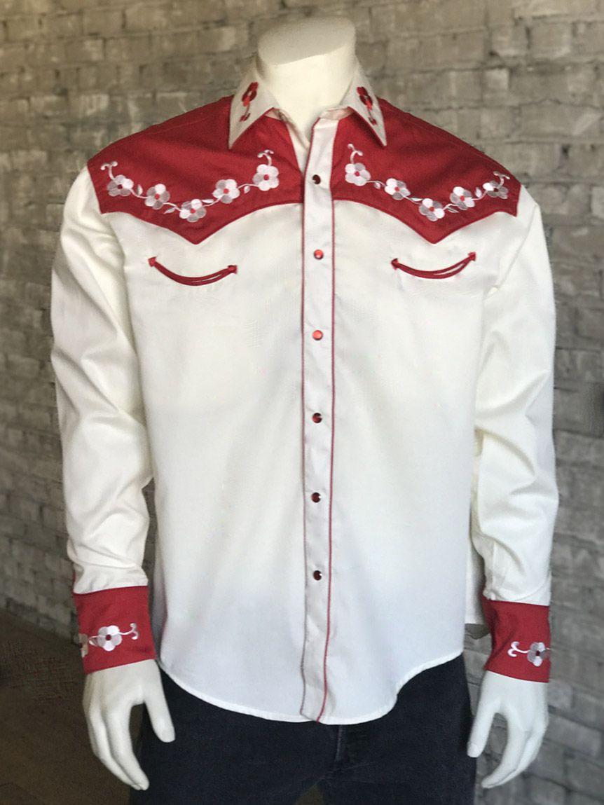 Mens Cowboy Western Rockabilly Embroidered Skull Floral Dress Shirt Tops Blouse