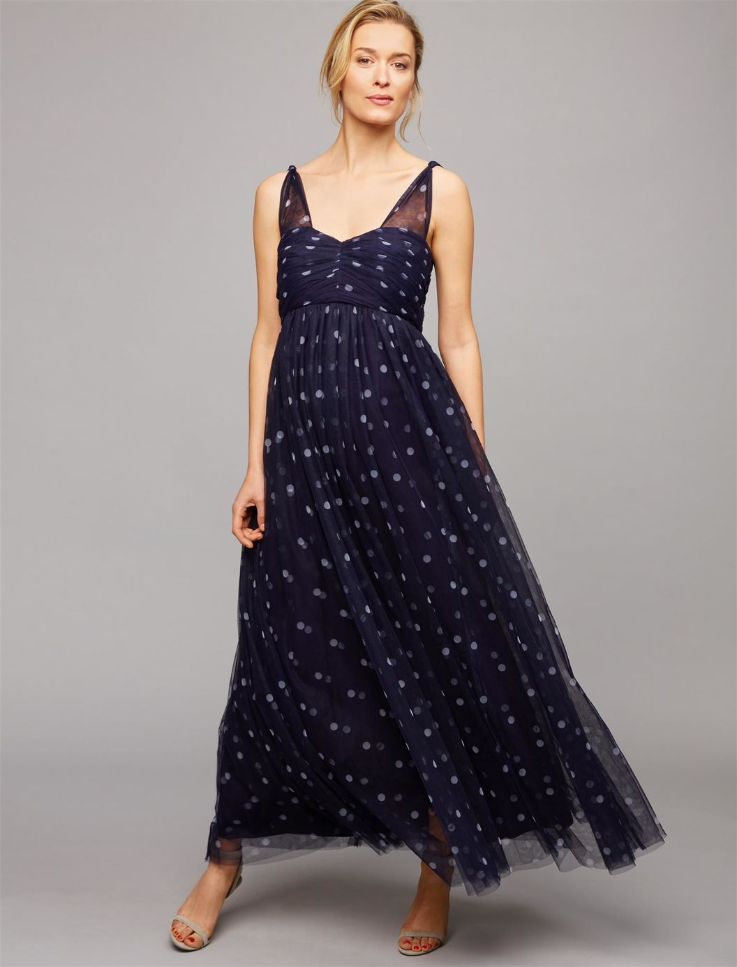 Ruched dot maternity gown a pea in the pod maternity maternity ruched dot maternity gown a pea in the pod maternity ombrellifo Images