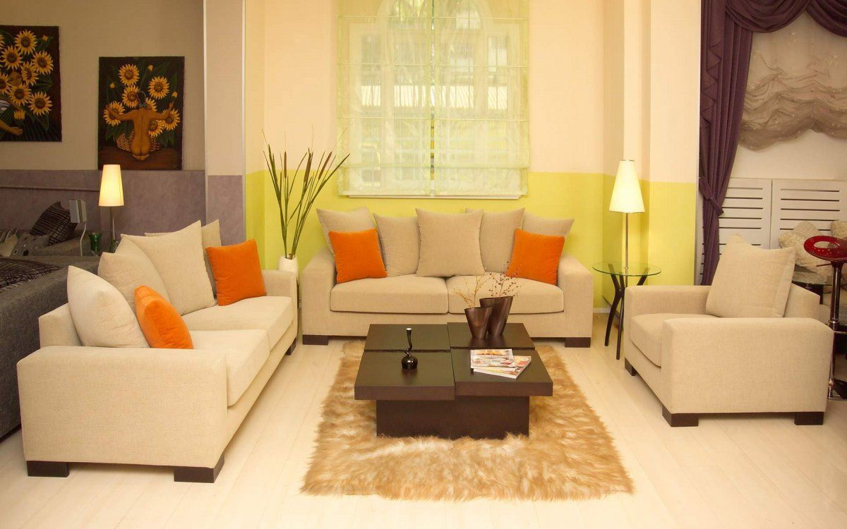 Living Room with Beige Sofa and Orange Pillow; Decorating Ideas for ...
