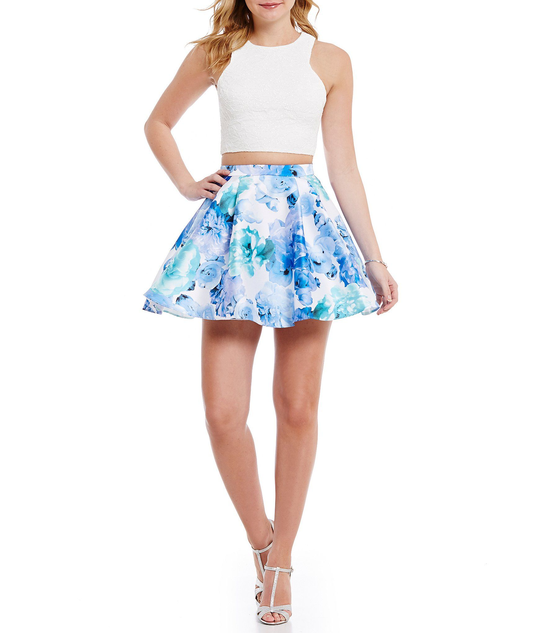 Shop for b darlin high neck glitter lace top to floral skirt two