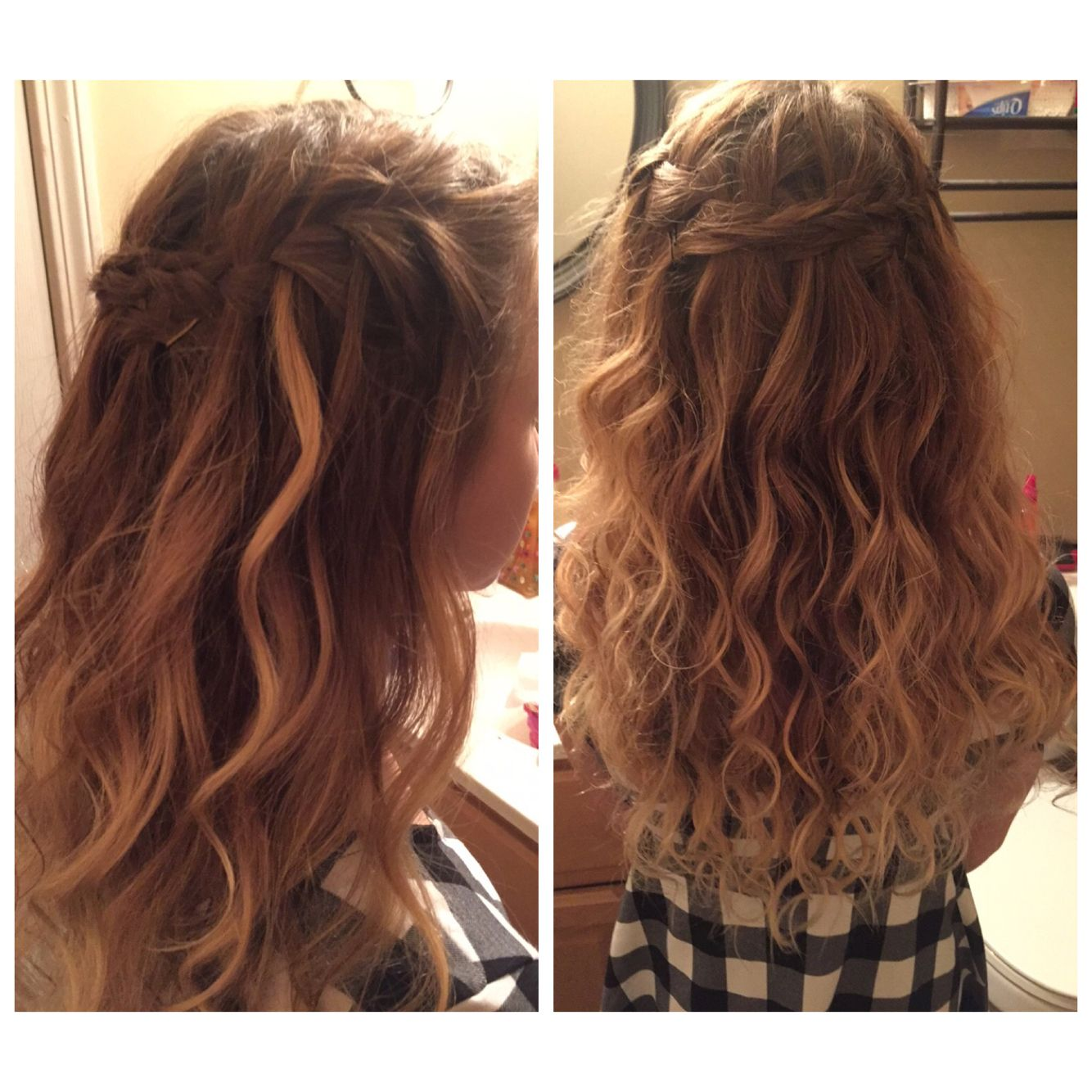 Waterfall braid messy curls hair pinterest messy curls hair