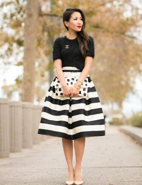 Black And White Stripe High Waist A Line Skirt Fashion Stripe