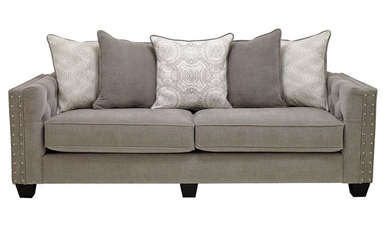 Sofa Sale Scatter back sofa with oversized pillows hand tufting and deep seating