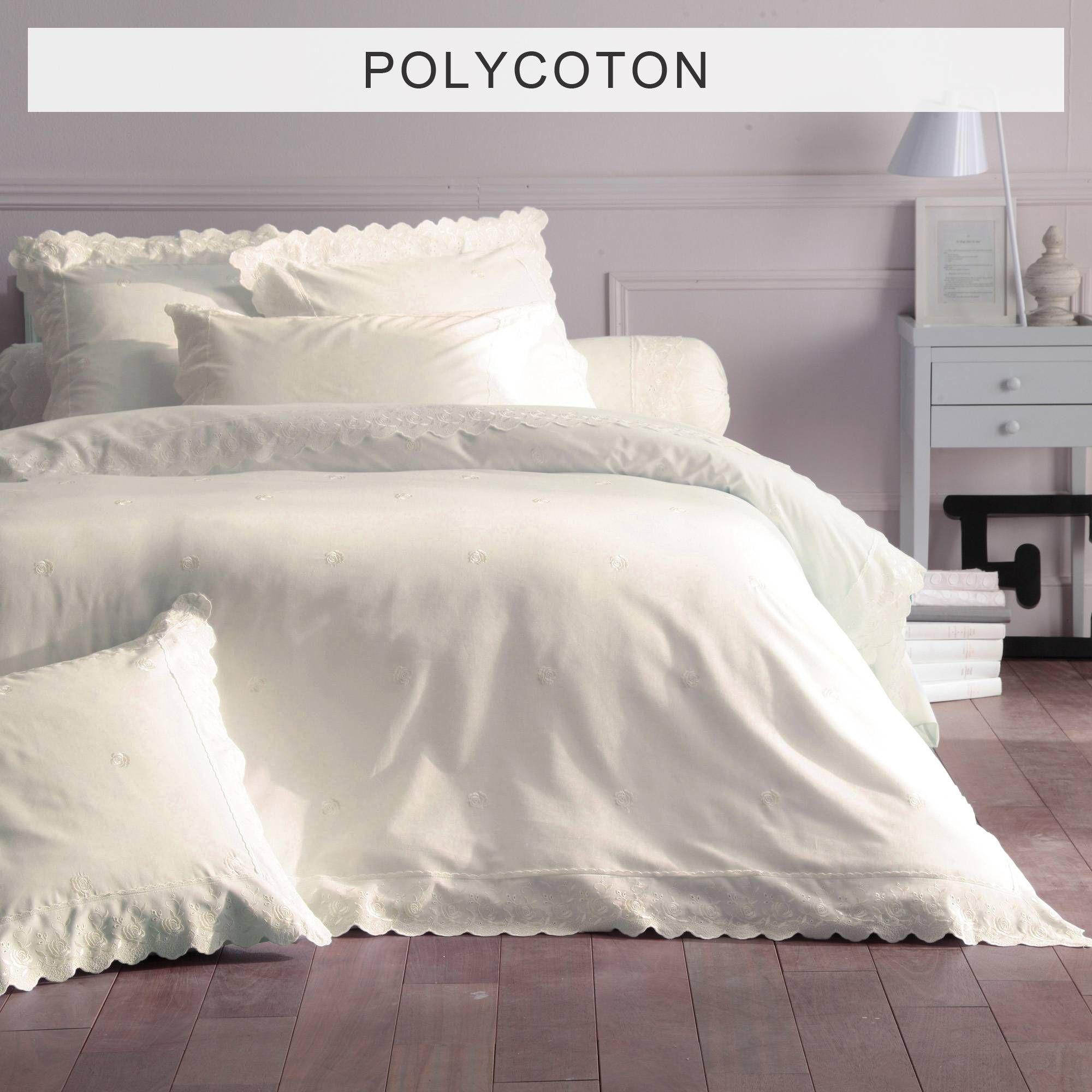 housse de couette polycoton unie brod e fleurs broderie. Black Bedroom Furniture Sets. Home Design Ideas