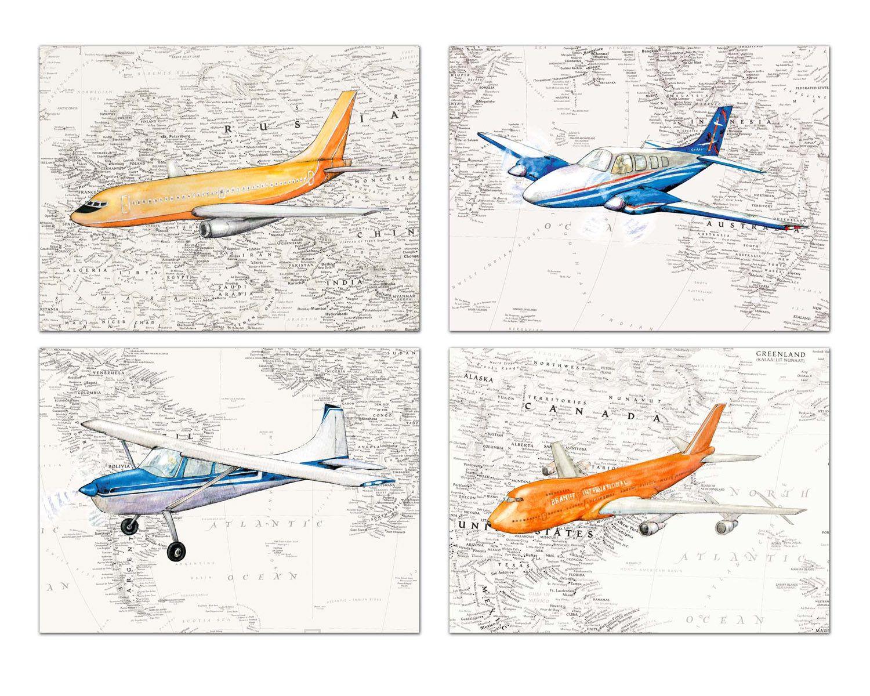 Airplane Prints Worlds Map Decor Boys Nursery Aviation Theme Boeing Orange And Blue Planes Picture Map Nursery World Map Decor Nursery Decor Sets