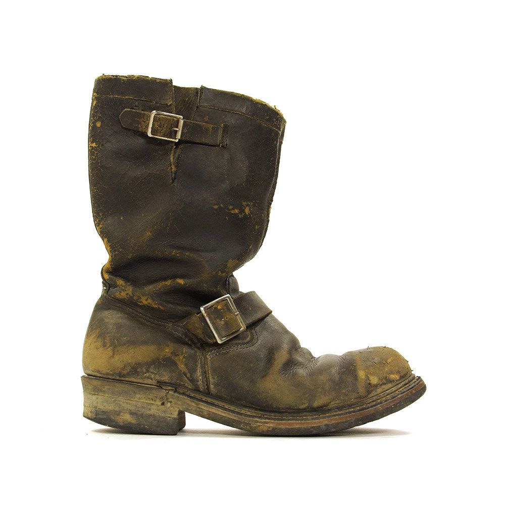 bc554cf4c3dc9 70s Motorcycle Boots / Vintage 1970 Distressed Thrashed Black ...