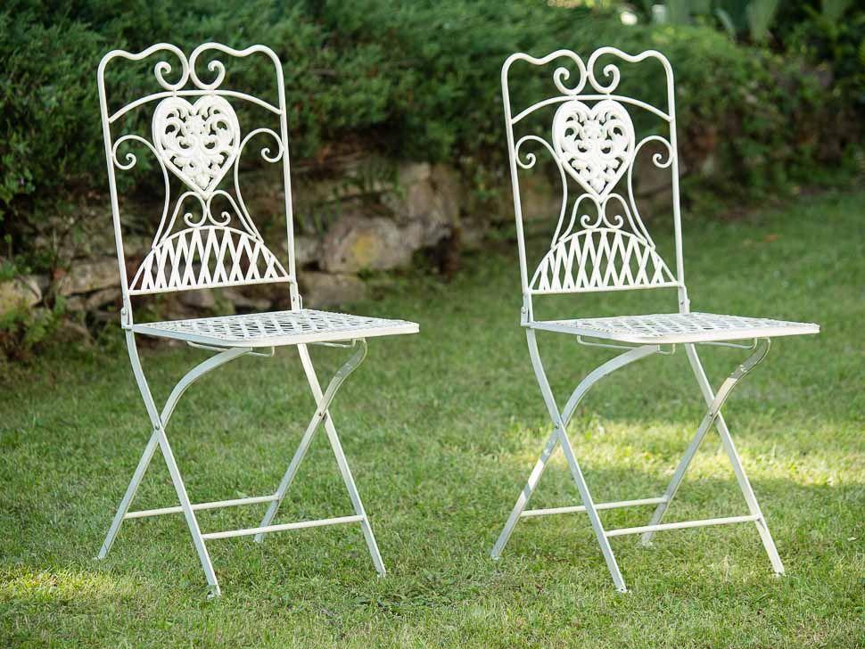 2x Gartenstuhl Paar Stuhl Bistrostuhl Schmiedeeisen Eisen antik Stil braun Stein