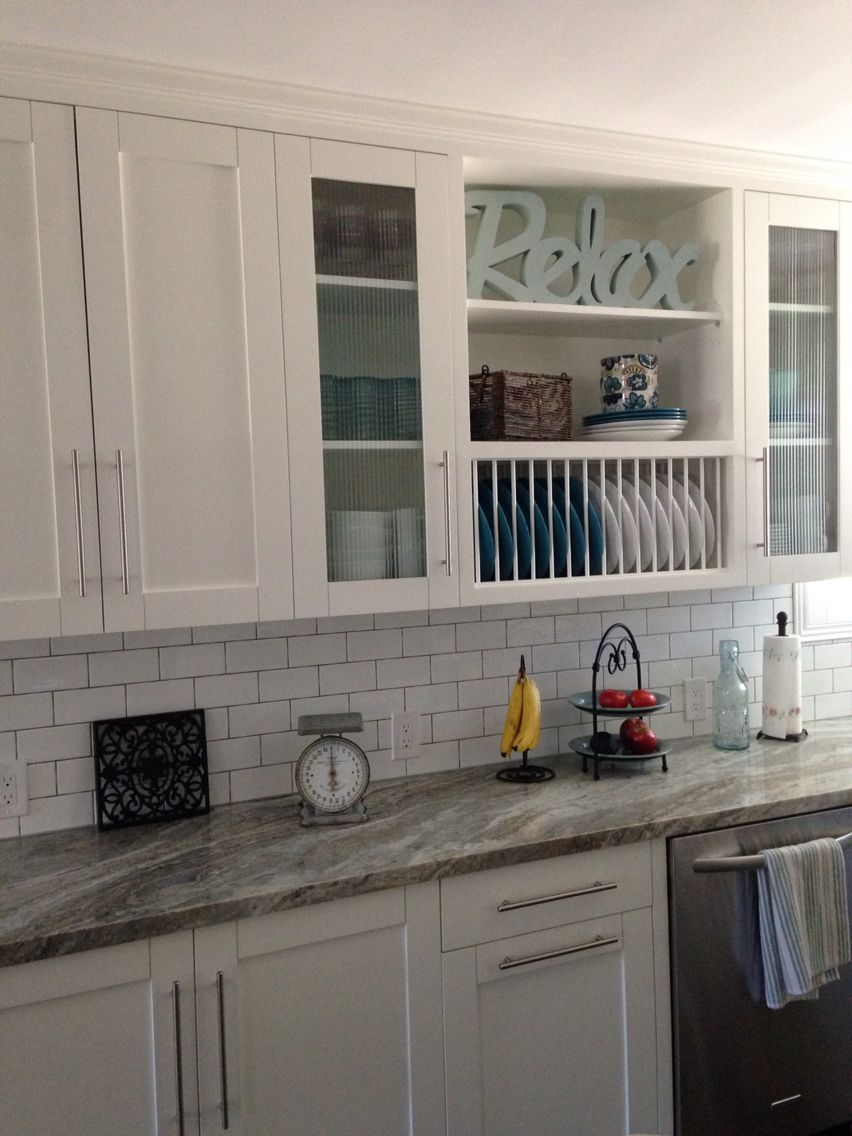 White Shaker Cabinets With Glass Doors Open Shelves Plate Rack Granite Counters Glass Cabinet Doors Kitchen Cabinets White Kitchen Countertops