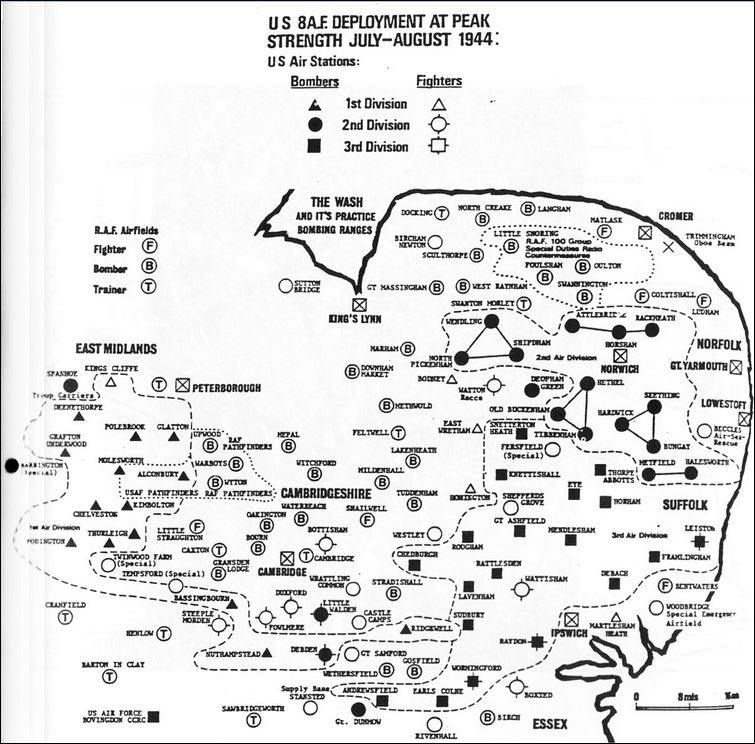Air Force Bases In England Map.Wwii Map Of Air Bases In England Army Air Corps Wwii World War