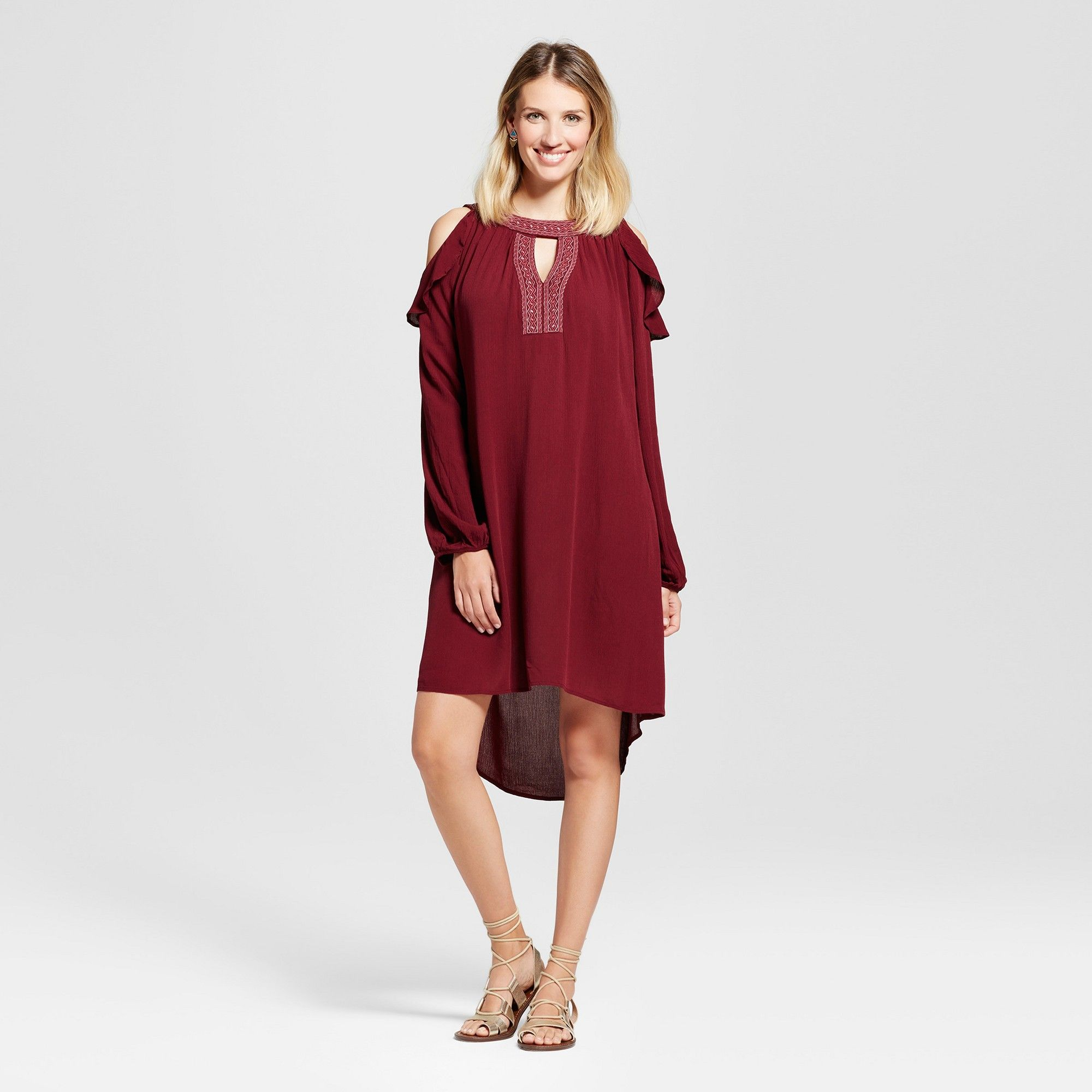 NEW Women/'s Embellished Cold Shoulder Ruffle Dress Knox Rose  Burgundy XS