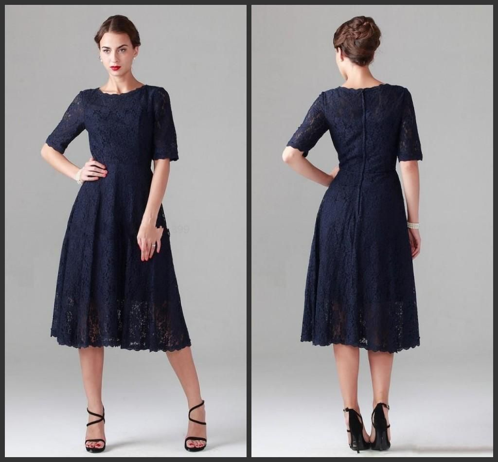 Wedding dresses for grandmother of the groom  Navy Blue Tea Length Lace MotheruS Dresses Sexy Half Sleeve A Line