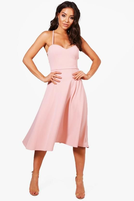 Tie Back Detail Midi Skater Dress Wedding Guest Outfit Midi Skater Dress Dresses Y Skater Dress