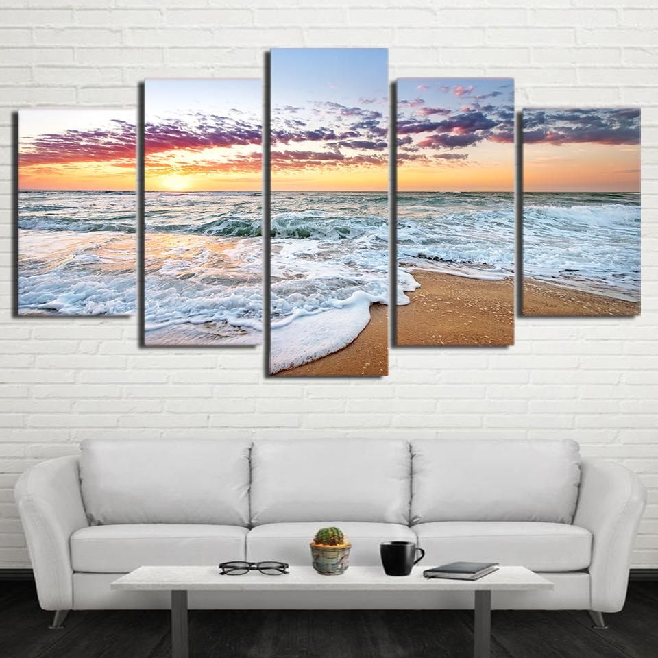 HD Printed 5 Piece Canvas Art Sunset Sea Wave Painting Wall Pictures ...