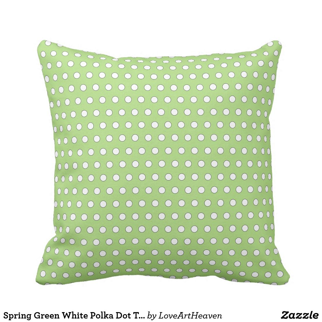 Outstanding Spring Green White Polka Dot Throw Pillow Zazzle Home Machost Co Dining Chair Design Ideas Machostcouk