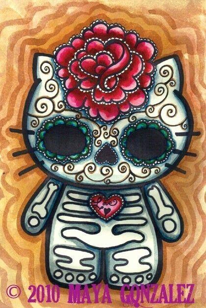 hello kitty sugar skull sugar skulls pinterest ideen zeichnungen und bilder. Black Bedroom Furniture Sets. Home Design Ideas