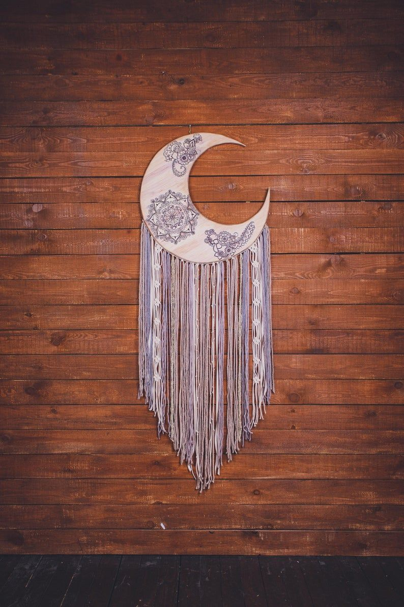 Would this crescent moon wall hanging melt your heart? Absolutely. This is a beautiful handcrafted wall art piece that will bring peace and serenity to your bedroom. Consider this extra large moon phase wall hanging, if are looking for a gift for a boho lover. Boho wall art for a dream bohemian home. Pure beauty.  #dreamcatcher #dream catcher #bohodecor #bohohome #girlfriendgift