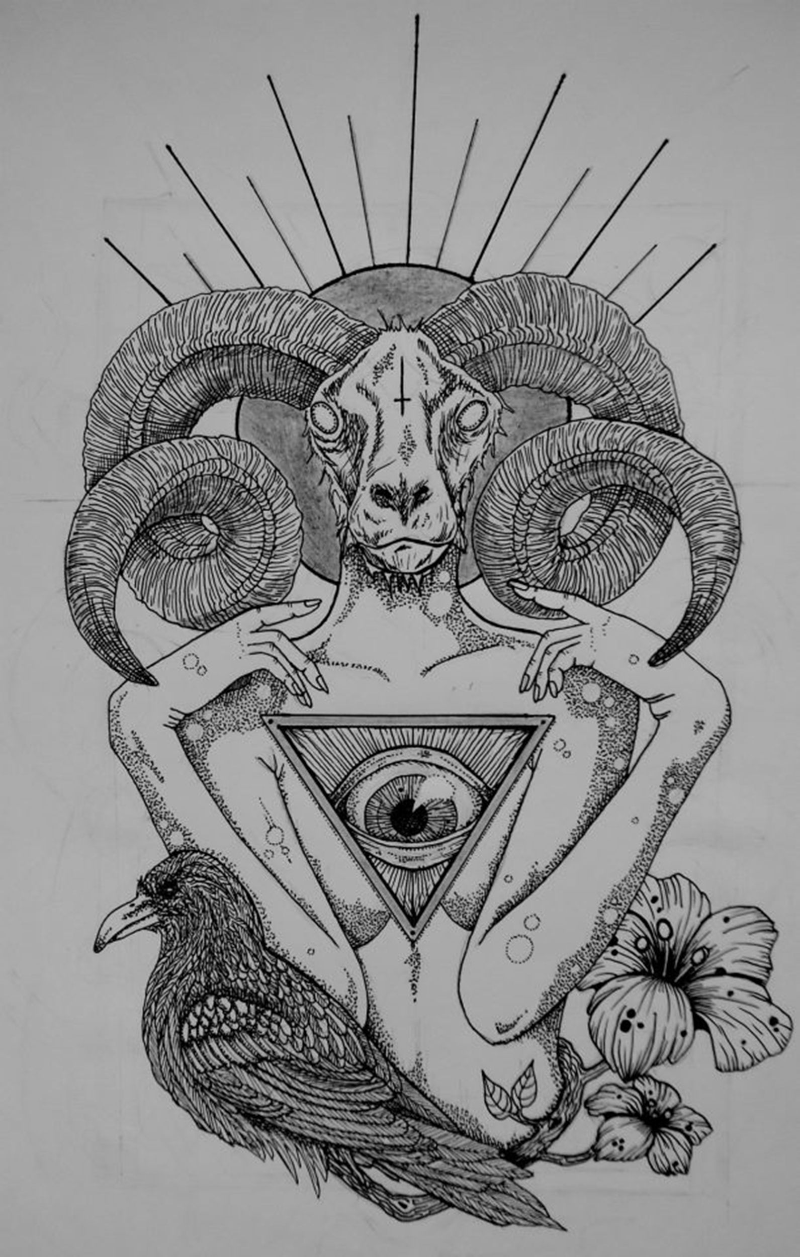baphomet & raven drawing