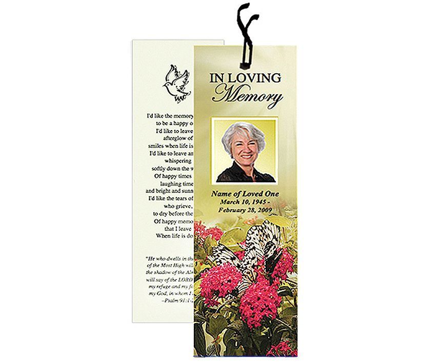 Memorial Bookmarks Bouquet Bookmark Template Add Ribbon For Finishing Touch