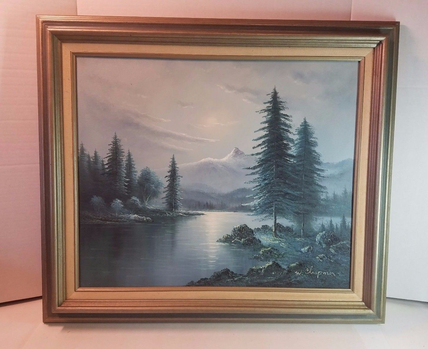 Vtg Wood Frame Chapman Canvas Oil Painting Picture 30 x 27 Mountain ...