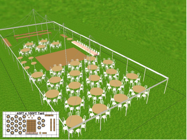 40x100 All-White Wedding Tent, Installed On Grass 25 Round