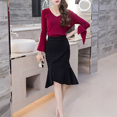 fe00c7460a Women's Work Knee Length Skirts, Sexy Trumpet/Mermaid Polyester Solid  Spring Summer 2018 - $17.61