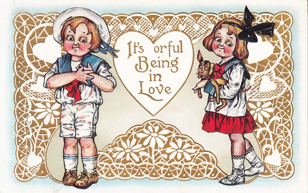 Valentine Postcard It\'s Orful Being in Love Boy Hand Over Heart ...