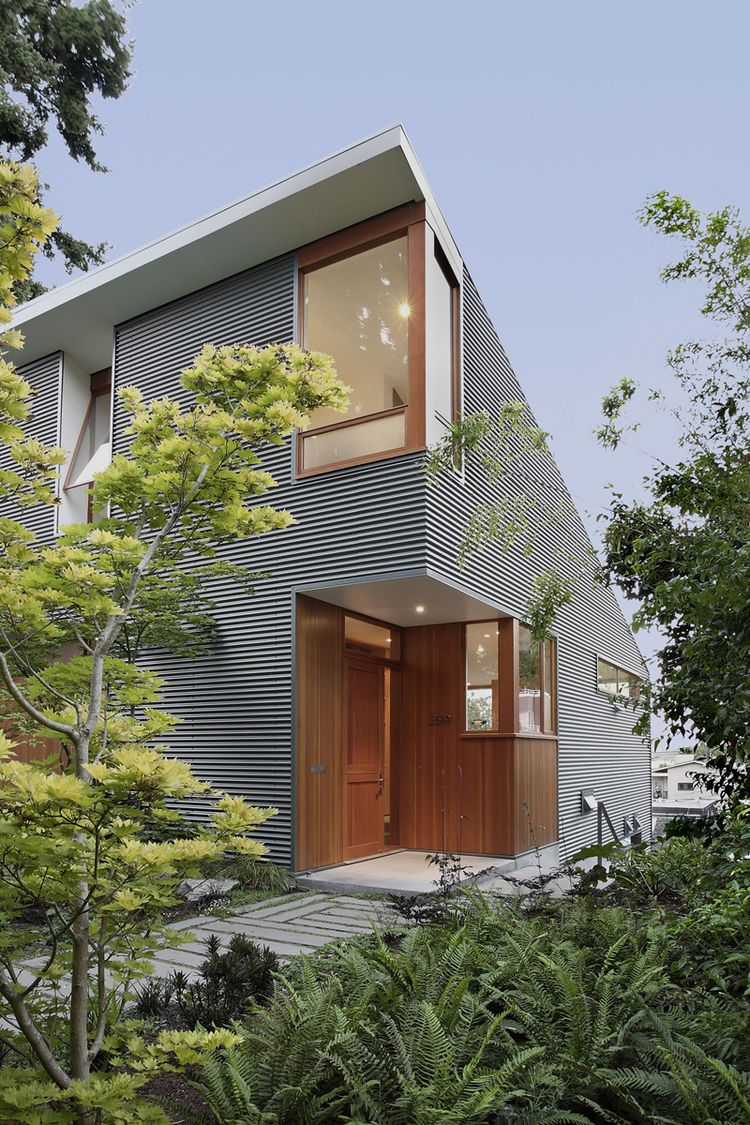Exterior modern siding window design  seattle green home with energy efficient measures  front yard