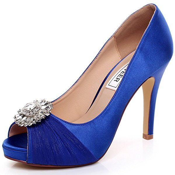 9a7dd7872f14 LUXVEER Royal Blue Wedding Shoes Combining Satin Lace and Rhinestone Brooch High  Heel 4.5inch-Peep Toe-EUR35